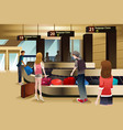 travelers waiting for their baggage vector image vector image