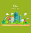 urban landscape concept in flat design vector image