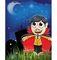 Vampire boy on a night cemetery vector image