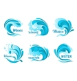 Water splash icons isolated ocean waves vector image vector image