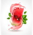 watermelon splash realistic composition vector image vector image