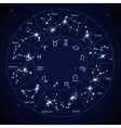 Zodiac constellation map with leo virgo scorpio vector image