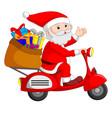 santa claus ride motorcicle vector image