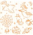 Hand drawn Halloween seamless pattern vector image