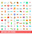 100 sea life icons set cartoon style vector image vector image