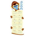 2016 calendar with picture monkey - symbol of year vector image