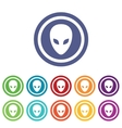 Alien signs colored set vector image