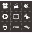 black cinema icon set vector image vector image