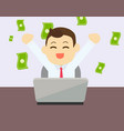 businessman glad to earning money from online vector image vector image