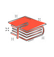 cartoon education and book icon in comic style vector image