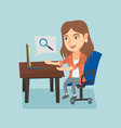 caucasian woman searching information on a laptop vector image vector image