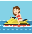 Caucasian woman training on jet ski in the sea vector image vector image