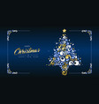 christmas and new year gold retro pine tree card vector image vector image