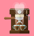 coffee machine and coffee cups vector image vector image