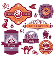 Collection of Halloween labels and signs vector image vector image