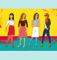 colorful poster with four beautiful fashion girls vector image
