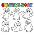 coloring book cute penguins 1 vector image vector image