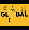 creative word concept global and people doing vector image