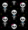 cute kawaii skeleton boy and girl seamless pattern vector image vector image