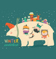 cute kids celebrating christmas with big polar vector image vector image