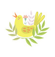 cute singing yellow bird symbol of spring vector image vector image