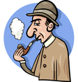 detective with pipe cartoon vector image vector image
