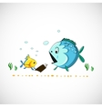 drawing funny cartoon sea fish eps vector image