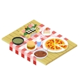 Food isometric icons on table vector image vector image