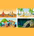 four different scenes with children cartoon vector image vector image