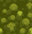 Frog seamless pattern Green Toad in swamp Many vector image vector image