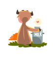 funny brown cow sitting at sunset with a can of vector image