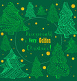 green christmas fir trees and golden snowfall vector image