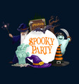 halloween ghosts bats wizard and witch hats vector image vector image