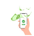 hand holding phone mobile payment transfer vector image