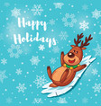 Happy Holidays card with cute cartoon deer vector image vector image