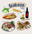 japanese food elements izakaya style hand draw vector image