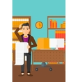 Man holding long bill vector image vector image
