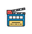 movie clapper board clapperboard flat color line vector image