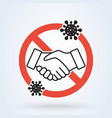 no handshake for virus prevention concept vector image vector image