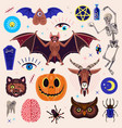 occultism set with magic characters goat pumpkin vector image vector image