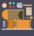open treasure chest and pirates stuff isolated vector image