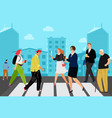 people on crossroad vector image