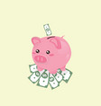 piggy bank on dollars vector image vector image