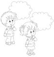 Schoolchildren solve a problem vector image vector image