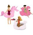 set girls with inflatable unicorn flamingo vector image