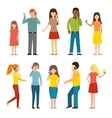 Set of calling mobile business adult people vector image