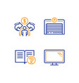 sharing economy parking garage and help icons set vector image vector image