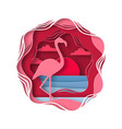 silhouette flamingo in origami style tropical vector image
