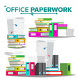 stack of papers file folders cluttered vector image