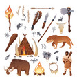 stone age primitive prehistoric life and people vector image